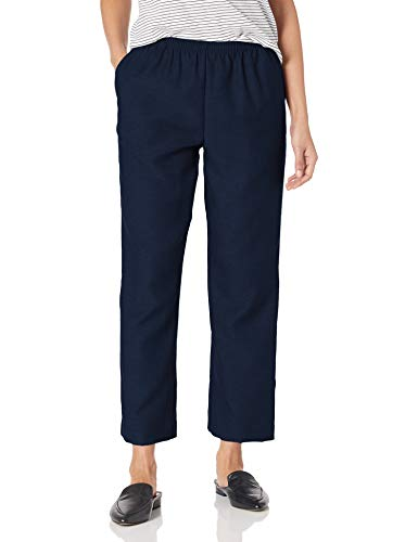 Alfred Dunner Women's Around Elastic Waist Polyester Short Pull-On Style Pants, Navy, 12 Petite