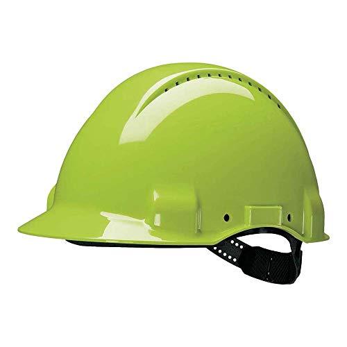 3M G30CUV Peltor Schutzhelm G3000C, ABS, Helm Innenausstattung mit Kunststoff SchWeißband  und Pinnlock Verschluss, belüftet, NeonGrün