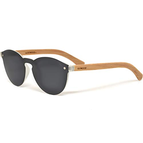 Gafas de sol redondas de madera de bambú para mujeres y hombres con lentes polarizadas de estilo especial de una pieza, color negro