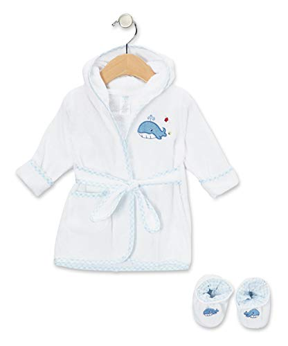 Spasilk 100% Cotton Hooded Terry Bathrobe with Booties, Blue Whale, 0-9 Months