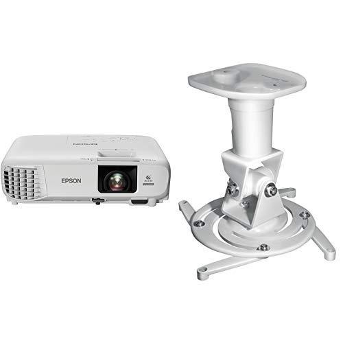Epson EB-U05 3LCD-Projektor (WUXGA, 3400 Lumen, 15.000:1 Kontrast) & My Wall H16-1WL, Deckenhalterung Beamer (Belastbarkeit 15kg, Deckenabstand: 225mm) weiß