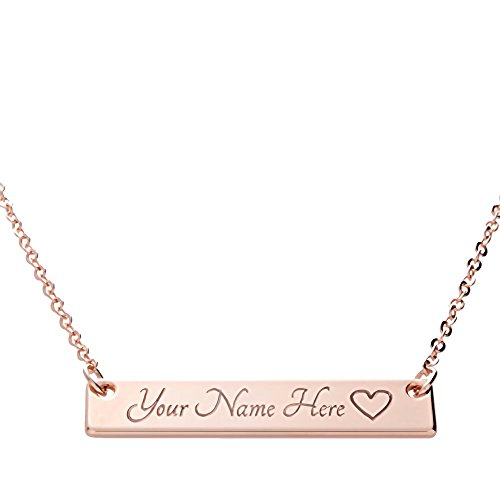 Customizable Your Name Bar Necklace Custom Jewelry Personalized gift Plated in 16k Rose Gold - Engraved Accessories for Wedding, Birthday, Graduation, Mother's Day, Christmas - With Present Box