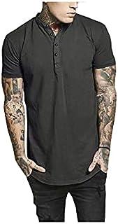 Fbnzmluqdx Tshirt for Men Men's Fashion Clothing Summer Tops Short Sleeve V-neck Shirt T Shirt Men Casual Outwear Solid Co...