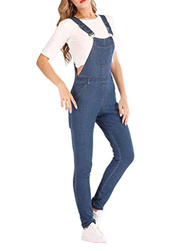 Onsoyours Salopette Donna Jeans alla Moda, Salopette retrò con Risvolto in Denim B Blu 2X-Large