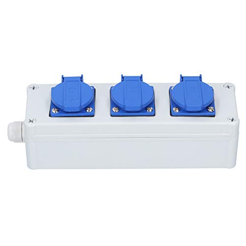 Ladieshow - Caja de Enchufe Impermeable para Exteriores con Interruptor de Pared, protección a Prueba de Lluvia, enchufes eléctricos(Caja de 3 enchufes)