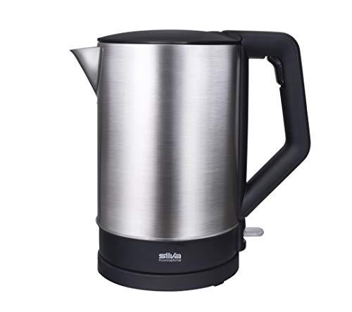 Silva-Homeline KL 1505 Edelstahl-Wasserkocher, 2200 W, 1,5l, 360°cordless, Ausgusszotte mit Sieb, schwarz/silber