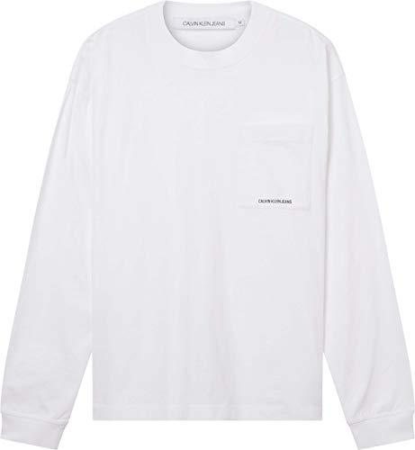 Calvin Klein Jeans Micro Essential Pocket L/S tee Camiseta, Blanco Brillante, S para Hombre