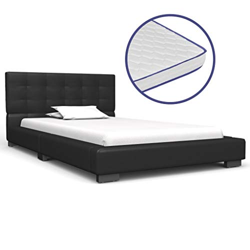 vidaXL Bed met Traagschuim Matras Kunstleer Zwart 90x200 cm Bedframe Frame