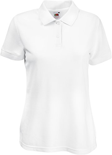 Fruit of the Loom Damen Lady-Fit Poloshirt 65/35 Weiss M