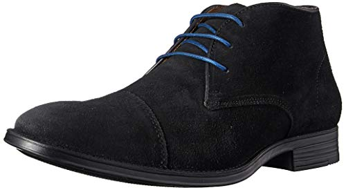 Driver Club USA Men's Geuine Leather Boot with Captoe Detail Ankle, Black Suede, 10 M US
