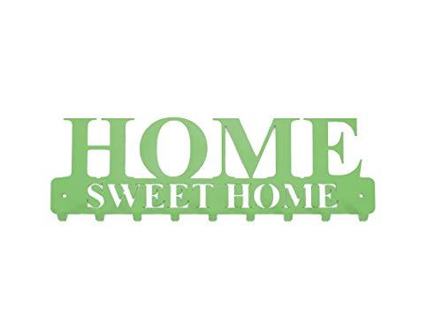 tradeNX Home Sweet Home Sleutelbord met 9 haken van staal in groen, wandhouder voor jassen, sleutels of handdoeken, montagemateriaal inclusief