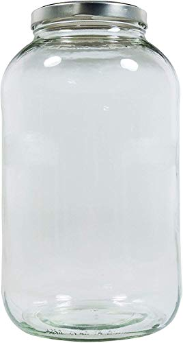 Mikken XXL Bocal en verre avec fermeture à vis argentée et étiquette inscriptible