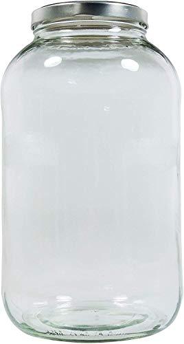 Mikken - Tarro de cristal XXL para conservas con cierre de rosca plateado, incluye etiqueta de rotulación