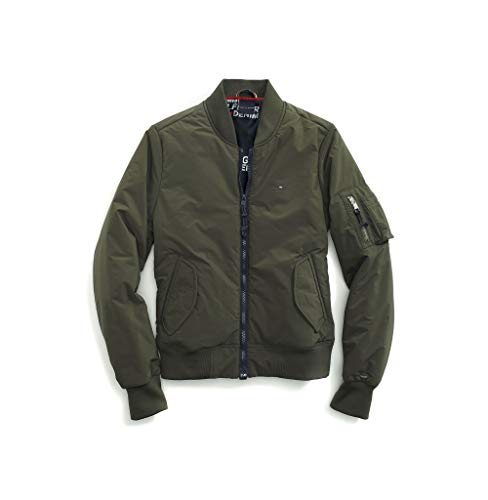 Tommy Hilfiger Damen Bomber Jacket with Magnetic Zipper Jacke, Olive as Patch, XX-Large
