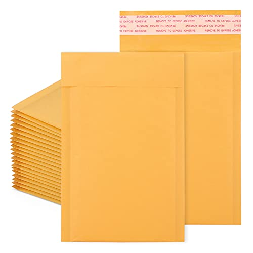 Metronic 4x8 Inches Kraft Bubble Mailers #000 Padded Envelopes Self Seal Waterproof Cushioned Shipping Mailer Pack of 50