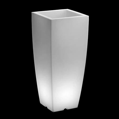 ARCA VECA verlichte bloempot rond 'Shuttle' - hoogwaardige verlichte bloempotten en plantenbakken - wit - met spaarlamp E27, 11 Watt - verkrijgbaar in verschillende hoogtes en vormen hoekig Höhe: 80 cm, Durchmesser 34,5 cm wit