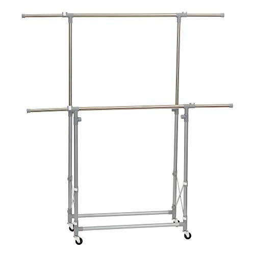 Household Essentials 3307-1 Folding Double Garment Rack with Wheels  Hang and Dry Clothes Silver