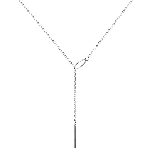 Mini Trinkets Gold Toned Women's Bar Drop Cleavage Fashion Statement Simple Lariat Necklace (Bar Drop Silver)