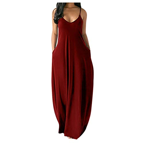 YYDS Langes Kleid Sexy Sleeveless O-Neck Pockets Camisole Long Dress for Women Solid Color Fashion Sexy Design Beach Backless Maxi Dress (Red Wine, 5XL)