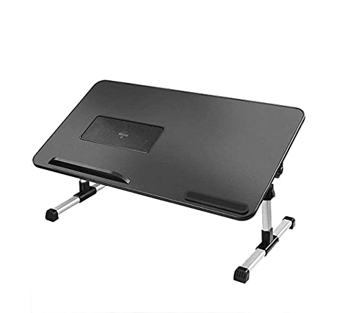 ZUIZUI Mesa de bandeja de cama para ordenador portátil, soporte plegable para computadora sentado con ángulo de altura ajustable, ventilador de refrigeración USB