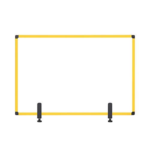 Bi-Office Ochraniacz na biurko, szklana deska z zaciskami, żółta rama aluminiowa, 90 x 60 cm