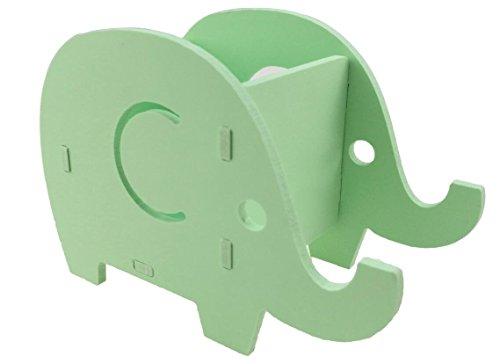 かわいい ゾウ ミニ DIY 収納箱 収納ボックス 木+プラスチック板製 スマホ ホルダー  ペン 文具 小物 卓上収納 (グリーン)