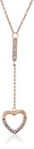 Ingenious Jewellery Collana con zirconi cubici e cuore sospeso, in argento Sterling, lunghezza della catenina: 38–42,5cm
