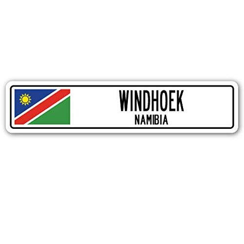 Lotusworld Neues Straßenschild WINDHOEK NAMIBIA Straßenschild Namibische Flagge Stadt Land Straße Wand Blechschild 10,2 x 40,6 cm