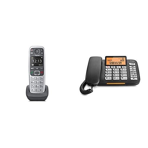 Gigaset E560HX Universal-Mobilteil - IP-Telefon Platin & DL580 - schnurgebundenes Senioren Telefon - Tischtelefon mit extra Leichter Bedienung und beleuchtetem Farbdisplay, schwarz