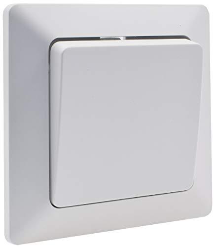 MILOS Wechselschalter 250V~/ 10A Klemmanschluss Wandschalter mit 1x Wippe 1-fach Rahmen Unterputz Weiß matt