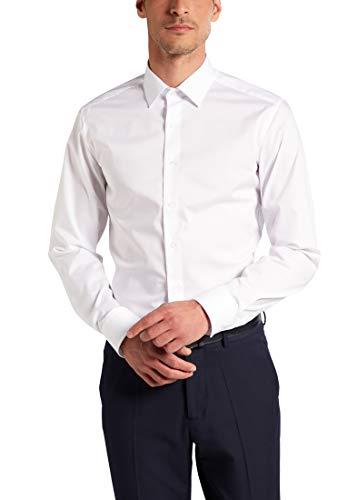 ETERNA Langarm Hemd SLIM FIT Stretch unifarben, Weiß, Gr. W42 Langarm