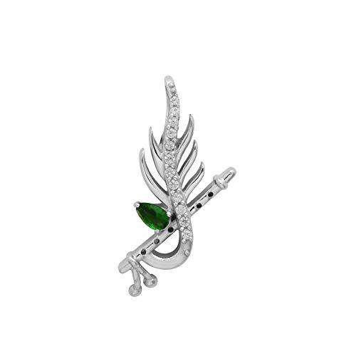 Glanz Jewel 925Sterling Silber Krishna Flöte Leaf Anhänger