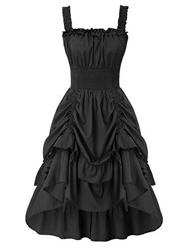 SCARLET DARKNESS Vestito Elegante da Principesa a Vita Alta Abito Schiena Scoperta Elegante Stile Gotico Nero 2XL