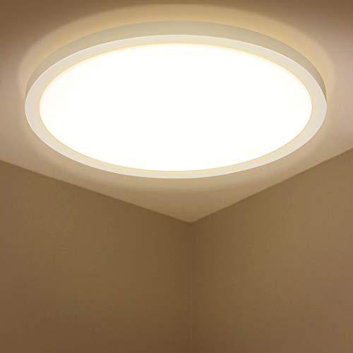 LED Deckenleuchte, BIGHOUSE 18W 1600LM Deckenlampe, 3000K Warmweiß für Badezimmer, Wohnzimmer, Balkon, Flur Küche, Ø295×250mm