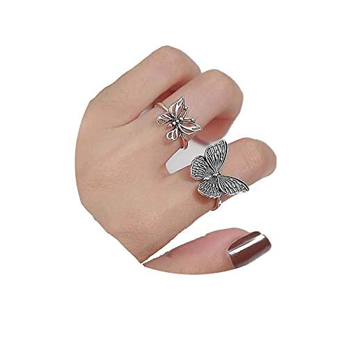 Yheakne Anillos de mariposa de Bohemia de plata apilables vintage Dainty anillos de mariposa minimalistas para mujeres y niñas 2 unidades
