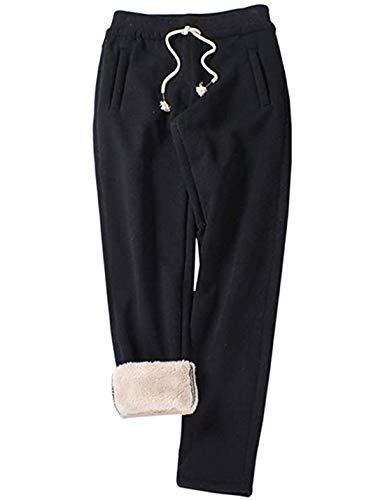 Yimoon Women's Fleece Sweatpants Winter Sherpa Lined Casual Jogger Pants (2# Black-Open Bottom, Small)