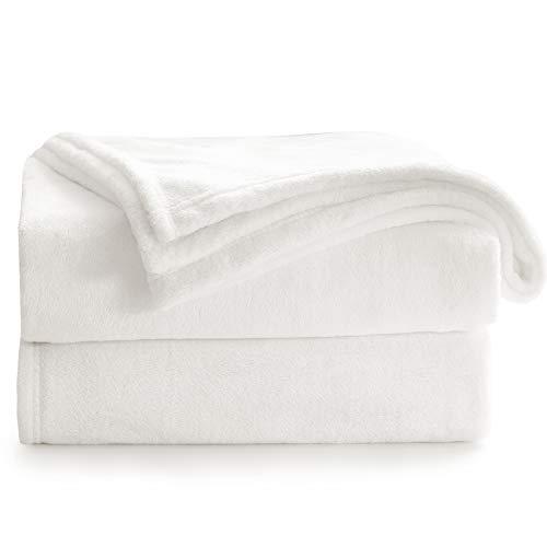 Bedsure Mantas para Sofás de Franela 150x200 cm - Manta para Cama 90 Reversible de 100% Microfibre Extra Suave - Manta Blanca Marfil Transpirable