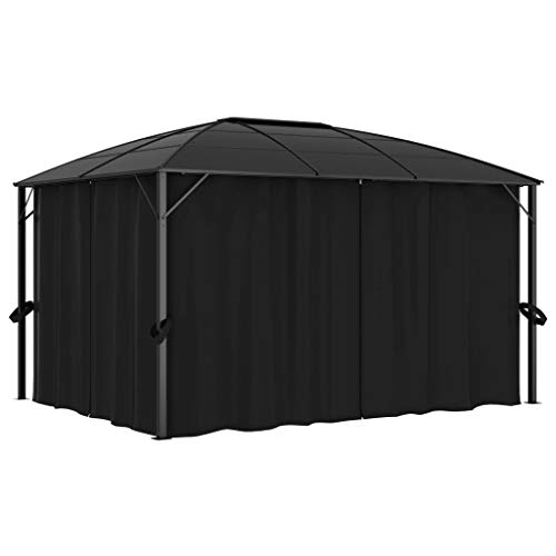 Tidyard Gazebo with Curtains Waterproof and Anti-UV Sunshade Shelter for Outdoor Picnic Dinners BBQs 400x300x265 cm Anthracite
