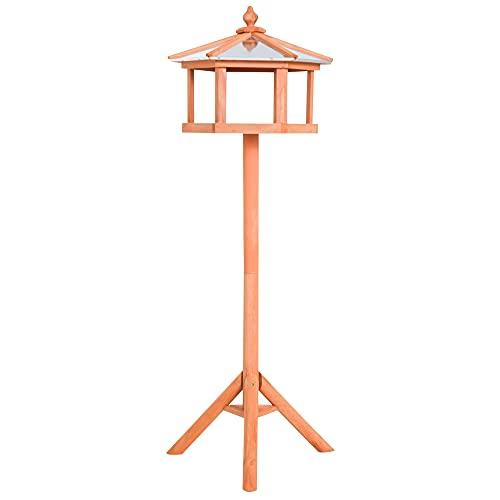 Outsunny PawHut Mangiatoia per Uccelli Stazione per Alimentazione, Palo Supporto Legno Uccello