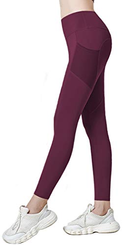 PlusFit Leggings Deportivo de Mujer Cintura Alta Mallas Running Training Fitness Yoga (S, Wine Red)