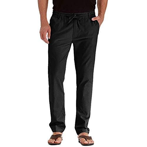 SamMoSon_Shorts Homme Pantalon en Mélange Coton Lin Coupe Large Décontracté Léger Confortable Respirant de Costume Sable Slim Pantalons Jogging Long Pants Loose Droite Sport Pants
