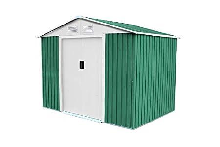 GARDIUN KIS12767 - Caseta Metálica Cambridge 4,72 m² Exterior 181x261x198 cm Acero Galvanizado Verde