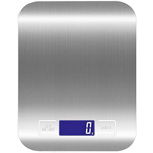 Báscula de cocina digital multifunción alimentos escala,Acero Inoxidable Báscula Digital para Cocina,5kg / 11 lbs(Sin batería)