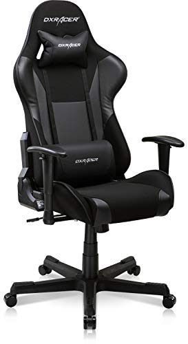 DXRacer PC Gaming Chair Racing Style Office Computer Seat Height Adjustable Recliner with Ergonomic Head Pillow and Lumbar Support, Formula Series, Standard, Black