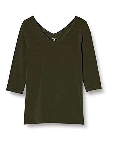 [ベルメゾン]インナーシャツレディースホットコット七分袖綿混あったかインナー前後VネックモスグリーンS