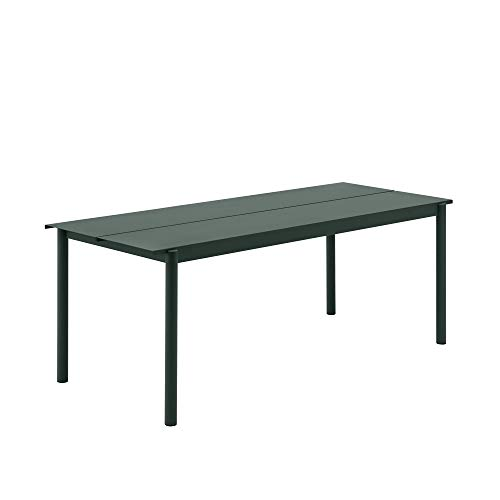 Muuto Linear Steel Table / 140 X 75Cm / 55.1 X 29.5 Dark Green - 140Cm / 55,1