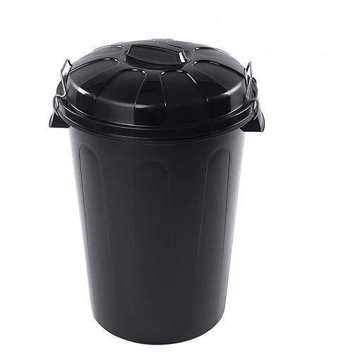 Cubo basura plastico comunidad con tapa 100 Litros (Negro)