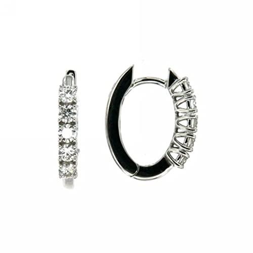 Pendientes de aro ovalados con diamantes