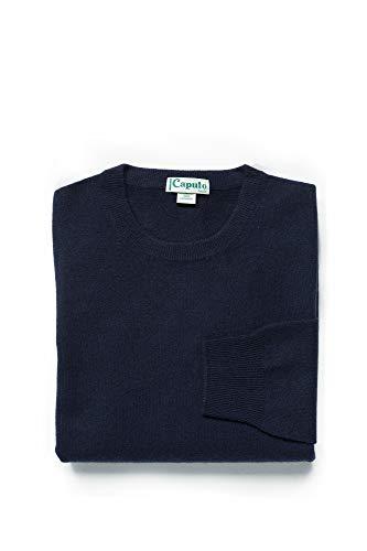 Caputo purecachemire Maglione Girocollo Uomo in 100% Puro Cashmere, Colore 1479 Blu Navy, Taglia L