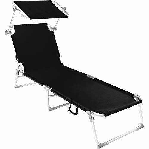TecTake 800143 Chaise Longue Bain de Soleil en Aluminium Pliable avec Parasol Pare Soleil - diverses Couleurs au Choix - (Noir   no. 401427)